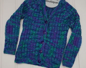 Blue green cardigan, Size 4 years, toddler Boy's Cardigan, Boy's Cardigan, Style 5, Boy's V-Neck Cardigan, Ready to ship