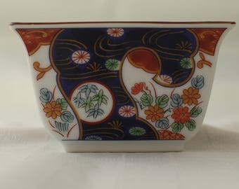 Vintage 70s Japanese square bowl // dish with flowers and bamboo // Otagiri Mercantile Company OMC made in Japan