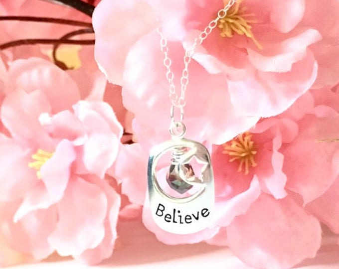 Featured listing image: Sterling Silver Believe Pendant Necklace, Positive Affirmation Necklace, Briolette Pendants, Gifts for Her, Spiritual Jewelry, Birthday Gift