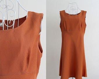 SALE Mod Mini Dress Checkered Print Plaid Houndstooth Twiggy Shift  A Line Sleeveless Burnt Orange Vintage Retro Medium Large