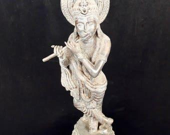 Lord Krishna God Statue Playing Flute Dance Bronze Brass Spiritual Hindu Meditation
