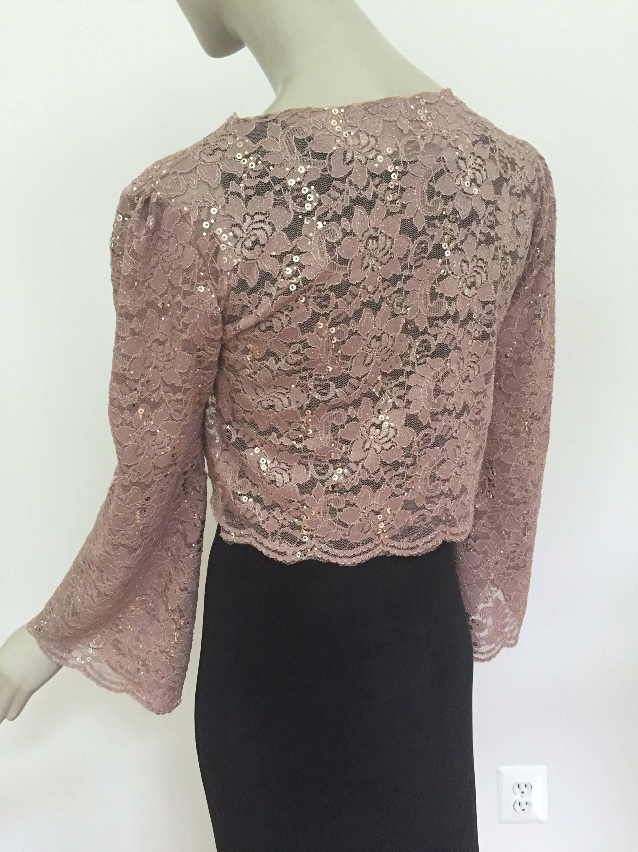 rose gold lace sequin shrug women 39 s sparkly beige bolero. Black Bedroom Furniture Sets. Home Design Ideas