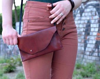 Leather crossbody bag, leather handbag, leather purse, raw edge bag, small messenger bag, leather bag, crossbody bag, gift for her, purse