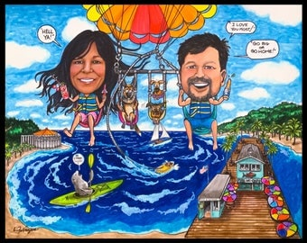 Custom caricature, retirement for man, retirement for woman, parasailing, Pismo Beach, kayaking, couples caricature, retirement for men