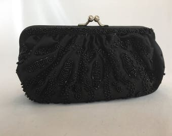 Vintage, La Regale, Black Beaded Clutch/Evening Bag, 1960s