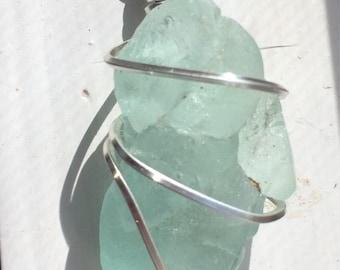 Aqua colored bonfire sea glass pendant