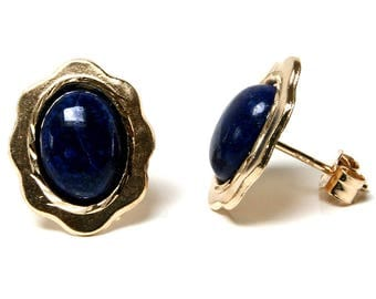 Solid 9ct Gold Oval Lapis Lazuli stud earrings with FREE gift box S2039