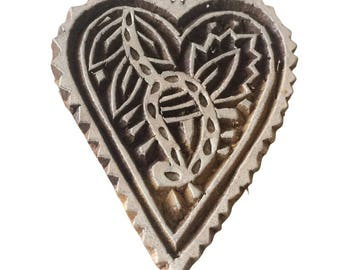 Heart Stamp Indian Wood Stamp Wood Block Stamp