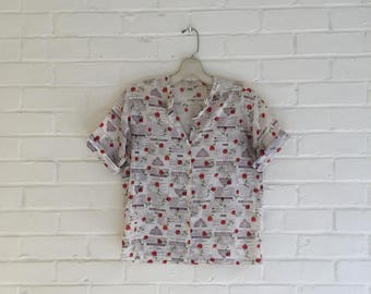 NEWSPAPER PRINT: all about the actors (Romeo & Juliet) Button up tee
