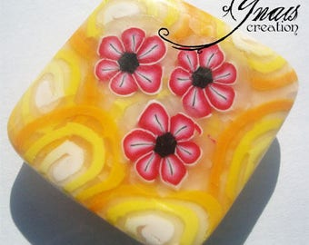 magnet/magnet square flowers pink polymer clay 3cm