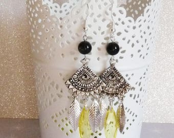 Earrings ' Silver 925 Bohemian leaves and yellow bead