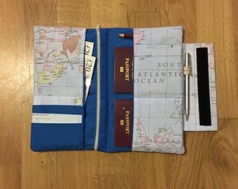 Travel wallet etsy world map travel wallet travel organiser travel documents gumiabroncs Choice Image