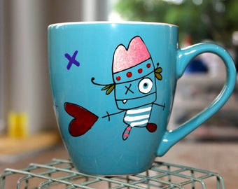 Large coffee mug, aqua, playful characters, the creepy, morning, mug, hand painted
