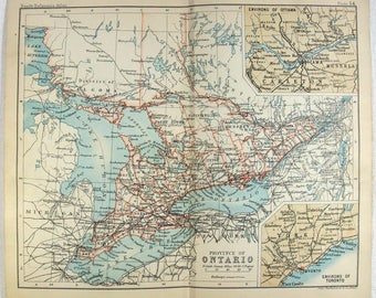 Antique Ontario Map Etsy CA - Map of ontario canada