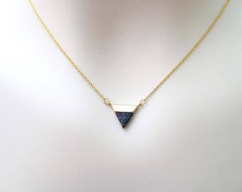 Black, Marble, Triangle, Gold, Necklace, Lovers, Friends, Mom, Sister, Gift