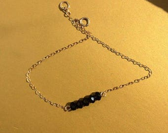 gold filled and black small Swarovski chain bracelet