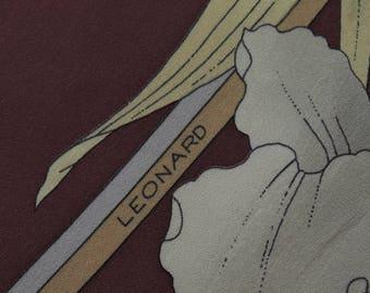 Leonard Tie Paris Pure Silk Floral Solid Pattern Burgundy Vintage Designer Dress Necktie Made In Italy