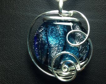 One Of A Kind Sterling Silver Wrapped Dichroic Glass Pendant