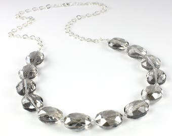 Large Gray Crystal Necklace with Sterling SIlver Chain