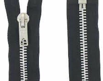 Black separable zipper mesh metl 40 cm
