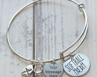 Softball Mom Wire Adjustable Bangle Bracelet