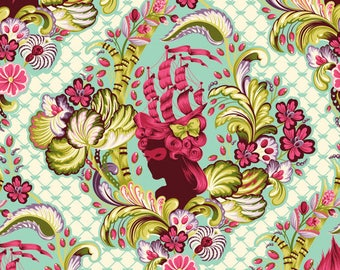 Tula Pink Parisville Cameos  in Sky by Tula Pink for Free Spirit Fabrics One Yard OOP VHTF Rare