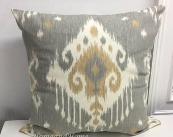 Pillow cover Zipper Closure Ikat pillow cover gray tan ivory Euro Shams Throw Pillow lumbar 14x14 16x16 18x18 20x20 22x22 24x24 26x26