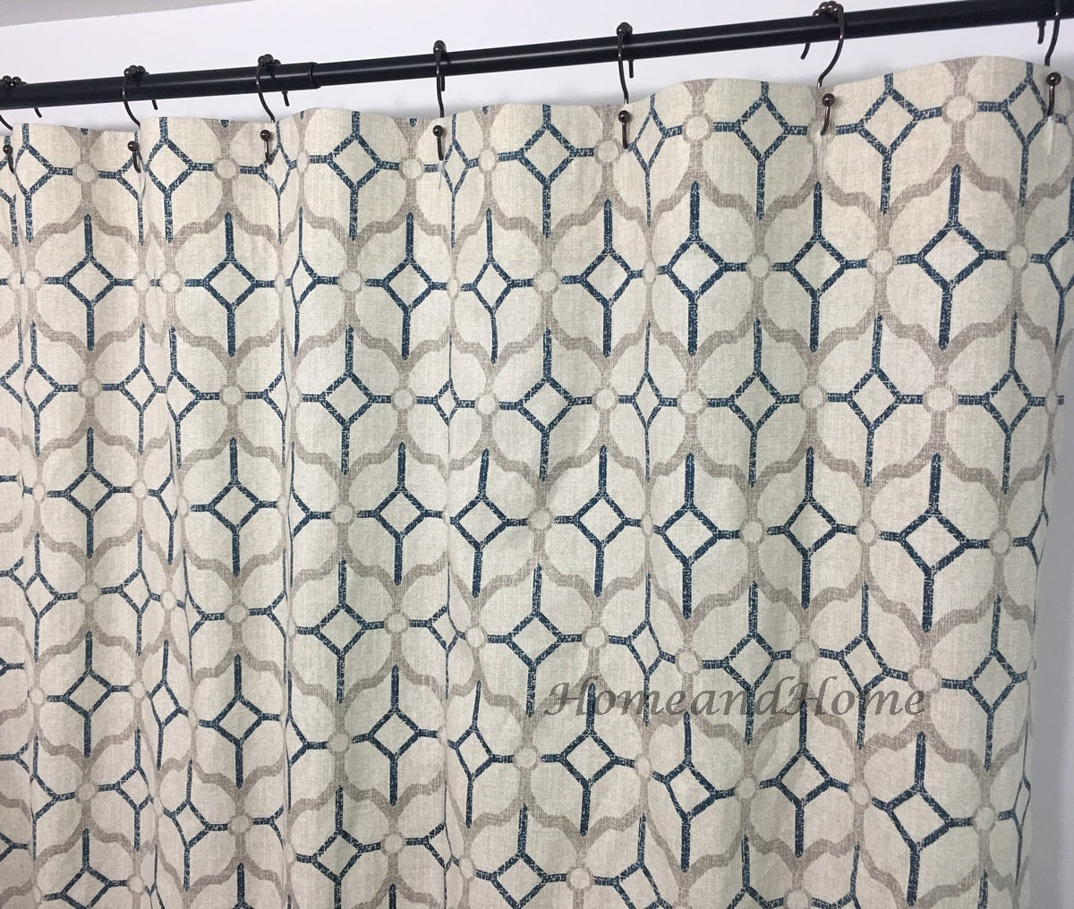 Fabric Shower Curtain Rockaway Navy Grey Beige 72 X 84 108