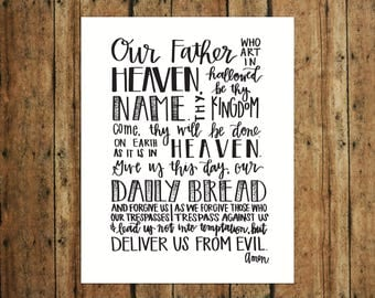 Our Father | The Lord's Prayer | Digital Print | Calligraphy | Black