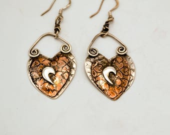Heart with a Flair Earrings Sterling Silver and Copper