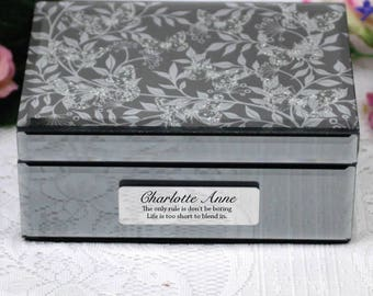 Personalised Mirrored Jewelry Box- Butterfly