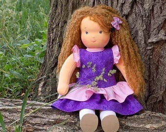 15 inch soft natural waldorf doll, eco friendly rag doll, textile doll, fabric doll, custom doll, cloth doll, personalized doll