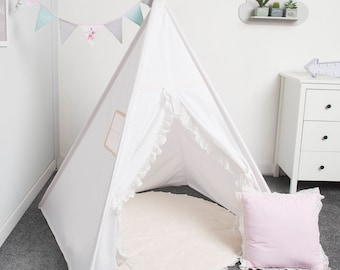 indian teepee tent, kids play tent, tipi, teepee for girl tente indienne, tente de teepee, tents pour enfant, set 5 elements romantic white