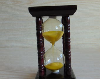 Vintage small  wooden hourglass,  Brown wooden hourglass  with Yellow sand, Collectible hourglass sand glass, vintage sandglass timer