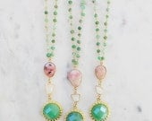 Watermelon Spring Rosary Sun Necklace, Pink Opal, moonstone, jade rosary necklace, sun necklace, moonstone