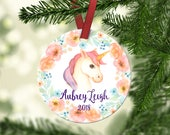 Girl's Unicorn Christmas Ornament.Unicorn Ornament.Unicorn.Christmas ornament.Personalized christmas ornament.Baby's first Christmas.