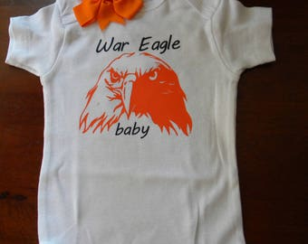 War Eagle Baby onesie and hair bow set