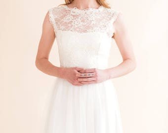 30% SALE WINTER TOP a sleeveless top or cover up made from ivory corded lace and scallop trim