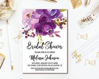 Purple Bridal Shower Invitation - Watercolor Floral Wedding Shower - Printable Invites