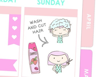 Rosie Shampoo and Cut Hair Stickers / Planner Stickers