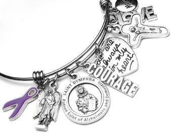 Alzheimers Patron St. Dymphna Catholic Holy Medal Charm Bangle Bracelet, Stainless Steel, St. Raphael, Alzheimer's Disease, Awareness Ribbon