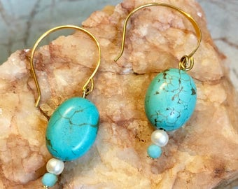 Turquoise + 24k Drop Earrings