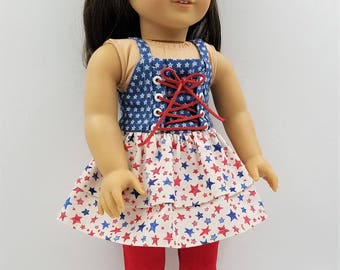 """Patriotic Dress and Leggings for 18"""" Dolls Like American Girl - 21.00; Red White and Blue Doll Dress; Dress and Leggings for 18"""" Dolls"""