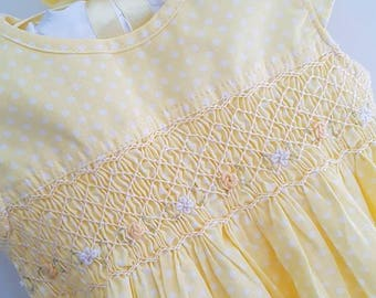 Beautiful pale yellow polka dot hand smocked baby dress with hand embroidery - 6-12 months
