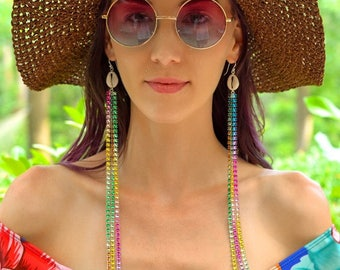 Extra Long Rainbow Tassel Cowry Shell Earrings - Sterling Silver Ear Wires