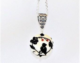 Lampwork Bead Necklace, Lampwork Necklace, Beaded Bird Necklace, Bird Lampwork Bead, Bird Lover Gift, Lampwork Jewelry, Glass Bead Necklace
