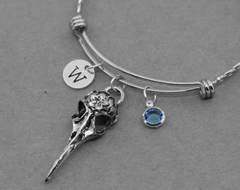 Raven Skull bangle, Bird Skull bracelet, Custom Raven Skull Bangle Bracelet, Raven Bird Skull Jewelry, Birthstones Bangle, initial bangle