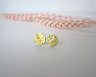GLORIA Small Stud Earrings - Silver Disc Earrings - Gold Plated Disc Studs - Gold Coin Earrings - Silver Coin Earrings - Textured Earrings