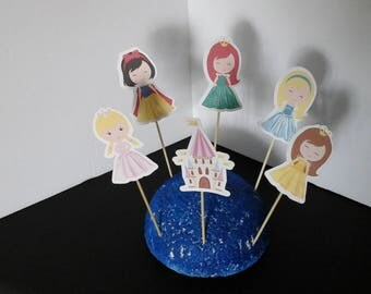 Princess  cake toppers..Princess Cupcake Toppers... Set of 12... Choice of one side or two sided pick