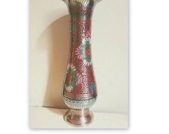 VIntage Etched Indian Brass Vase // Brass Flower Vase // Pedestal Vase // Vintage Brass Vase // Vintage Boho Decor